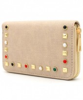 WA214-003 PU Wallet with Studs Light Brown