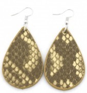C-C15.1 E220-011 PU Snakeskin Earrings 6x3cm Yellow