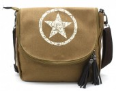 R-C3.2  BAG118-005 Canvas Crossbody Bag with Star 28x33cm Brown