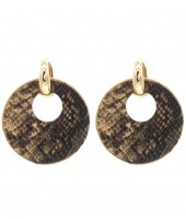 E220-004 Trendy Snakeskin Earrings Round Brown