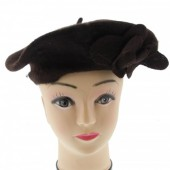 S-E2.3 Trend Woolen Baret With Flowers Dark Brown
