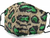 G-A23.1  FM042-035F Glitter Face Mask Leopard - Individually Packed - Gold-Green