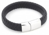 B105-003 Leather Bracelet with Stainless Steel Lock 21cm Black
