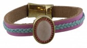 E-D21.3   Leather Bracelet with Stone   20cm