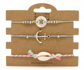C-C2.2 B221-004 Bracelet Set 3pcs Anchor-Turtle-Shell Grey