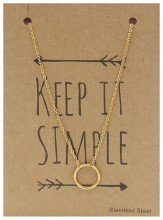 N1759-001 Stainless Steel Necklace Cirle Gold