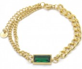 A-F19.2 B014-001G S. Steel Layered Bracelet with Stone Gold