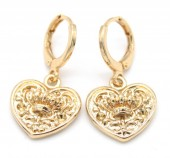B-E3.1 E426-006 Earrings 10mm with Heart 14mm Gold