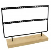 Q-A3.2 PK424-003 Wood with Metal Earring Display Black 27x22x7cm