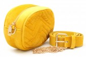 T-K6.1  BAG212-002 Velvet Combination Bag incl Belt 19x12x7cm Yellow