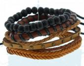 D-C3.11 E032-003 Unisex Bracelet Set Rope-Wood-Leather