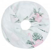 SC1801-009 Scarf with Glitters and Flamingo Col Mint Green