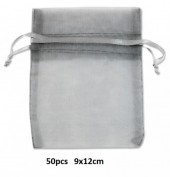 J-A5.2 Organza Bag Grey 50pcs 9x12cm
