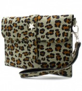 X-L3.1 WA220-008 Clutch with Panther Print and Star 18x12cm Green
