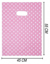 T-G6.2  Plastic Bag 55x45cm with Polka Dots Pink 100pcs