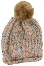 T-C6.2 Spotted Beanie with Fake Fur Pompon Light Brown