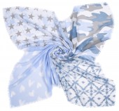 T-D6.1 S001-002 Scarf with Stars-Hearts and Camouflage 140x140cm Blue
