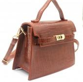 X-F6.2 BAG006-007B PU Bag Croco 19.5x15x8cm Brown