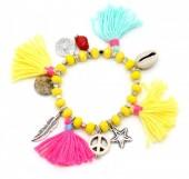 D-A15.2 B302-007 Elastic Summer Bracelet with Tassels Yellow