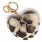 B-E8.3  KY414-001I Fluffy Keychain 10cm Heart Leopard Beige