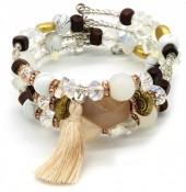 B102-003 Wrap Bracelet with Real Stones White-Multi