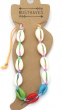 F-C23.1 ANK2001-002A Anklet Shells Multi Color