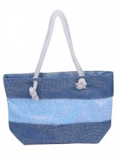 Y-D6.5 BAG327-001 Beach Bag with Glitters Blue