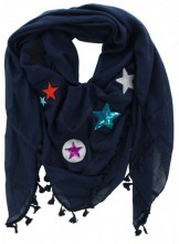 X-D4.1 S002-004 Blue Scarf with Patches-Stars-Tassels 140x140cm
