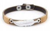 F-F5.1 B1202-169 Leather Bracelet with Feather 19-21cm Brown