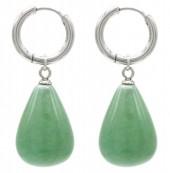 A-A20.2 E2121-057S S. Steel Earrings 3x1cm Green Adventurine