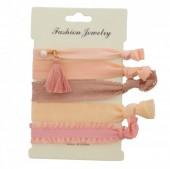 D-F19.2  Hairtie 5pcs Glitter & Pink tones