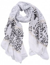 S-H4.3 S312-002 Scarf with Baroque Print 85x180cm Grey