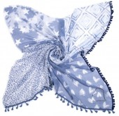 K-E5.3 S001-003 Scarf with Hearts-Stars-Animal Print and Tassels 140x140cm Blue