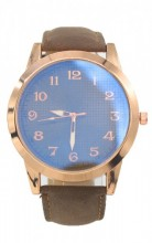 WA204-001 Quartz Watch with PU Strap Rose Gold-Brown