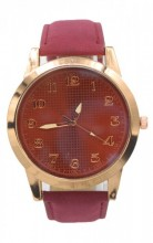 WA204-001 Quartz Watch with PU Strap Rose Gold-Red