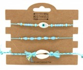 C-B15.1  B221-002 Bracelet Set 3pcs Shell and Eye of Fatima Blue