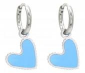 C-B4.4 E221-205S S. Steel Earrings Heart 1x2cm Blue-Silver