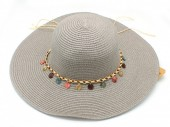 Q-K2.2 HAT210-002 Hat with Wooden Beads Grey