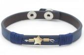 H-E17.4 B016-001 Leather Bracelet with Star 18-21cm Dark Blue