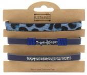 B1202-211 3pcs Bracelet Set with Animal Print and Star Blue