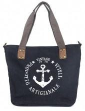 Q-J7.2   BAG017-020 Black Canvas Bag with printed Anchor 43x31x16cm