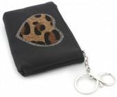 BAG1202-030 PU Keychain Wallet Heart with Leopard Print 13x9cm  Black