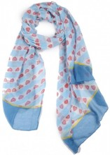 X-C4.2  SCARF507-003C Scarf with Hearts 180x90cm Blue