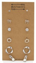 F-C16.1 E426-021 Earring Set 6 Pairs Silver