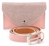 Q-I6.1 WA1202-025 Belt Purse - Festival Musthave with Glitters 17x11cm including belt Pink