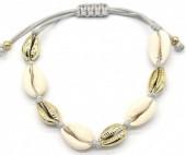 C-B18.1 B2001-032 Bracelet with Shells Gold-Grey