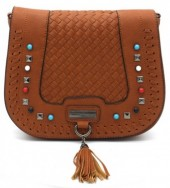 Y-A2.5 BAG193-002 PU Bag with Studs and Tassel Brown 26 x 20 cm