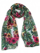 S-I3.4 S313-009 Jungle Scarf with Flowers 90x180cm Green-Multi