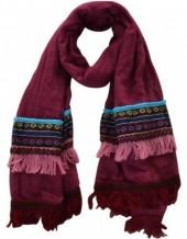 R-C8.1 Bohemian style Scarve with Tassels and Aztek Print 194x86cm Purple