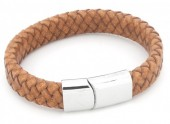 B105-003 Leather Bracelet with Stainless Steel Lock 21cm Light Brown